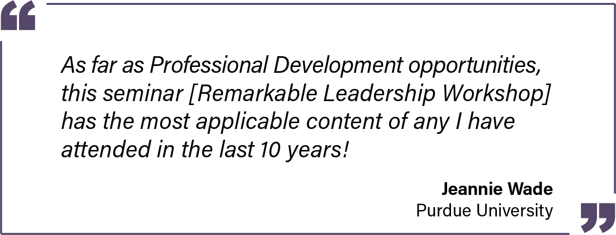 As far as Professional Development opportunities, this seminar has the most applicable content of any I have attended in the last 10 years! - Jeannie Wade of Purdue University Testimonial
